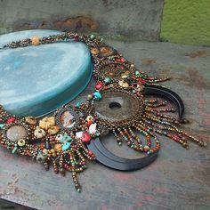 "http://gianelle.beadforum.cz ""Tuvan"" necklace Bronzite, amonite, bone beads, ""turquoise"", coral, Czech and Japanese seed beads"