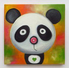 Pandas Portrait Original Art Animals Oil on canvas by MikiMayoShop