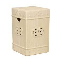 Kathy Kuo Home - Square Asian Garden Stool End Table- Antique White Champagne Glaze. 18 inches high x 12 inches wide x 12 inches deep Asian Garden, Chinese Garden, Ceramic Garden Stools, Ceramic Stool, Garden Seating, Garden Table, Glazed Ceramic, Wood Species, A Boutique