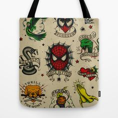 Spidey Tattoo Flash Tote Bag by Andy Pitts - $22.00