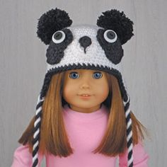 "PANDA HAT for AMERICAN GIRL DOLLS ❤ Crochet pattern in the book ""Amigurumi Animal Hats for 18-Inch Dolls"" by Linda Wright. amazon.com/..."