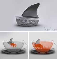 shark tea infuser - Bartliff you need to start drinking tea lol Tea Infuser, Tea Strainer, Cool Inventions, Gadgets And Gizmos, Drinking Tea, Kitchen Gadgets, Kitchen Stuff, Tea Time, Tea Party