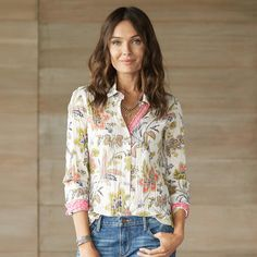 """ILENA SHIRTS--Floral, paisley or mixed print button-up shirts in crinkly cotton voile, each detailed to perfection with button cuffs. Machine wash. Imported. Sizes XS (2), S (4 to 6), M (8 to 10), L (12 to 14), XL (16). Approx. 27-1/4""""L."""