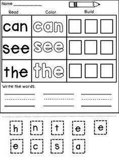 Kindergarten Sight Word Worksheets Cut and Paste by Dana's Wonderland Kindergarten Morning Work, Kindergarten Reading Activities, Kindergarten Readiness, Basic Sight Words, Teaching Sight Words, Sight Word Practice, Sight Word Worksheets, Abc Worksheets, Reading Worksheets