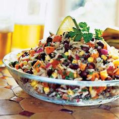 Confetti Salad with rice, black beans, red kidney beans, corn, cilantro