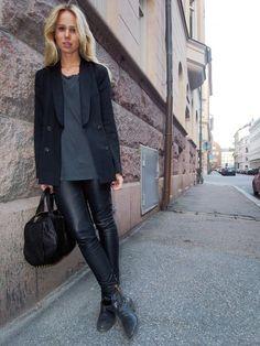leather trousers + black tuxedo (elin kling)
