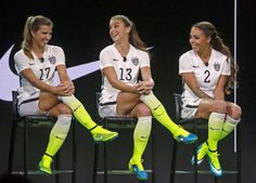 Tobin Heath, Alex Morgan and Sydney Leroux in the new Nike home kit. (Nick Ut/AP)
