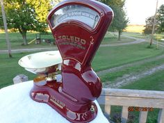 Antique 2 and 3 lb Toledo Candy scales with brass pans custom restored.