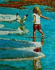"Daily+Paintworks+-+""Chasing+Gulls""+-+Original+Fine+Art+for+Sale+-+©+Margaret+Horvat"