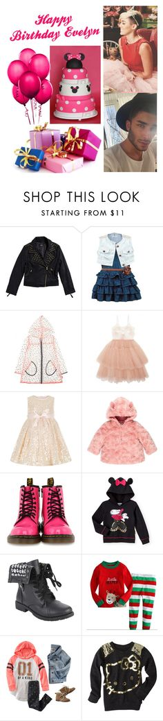 """Happy 4th Birthday, Evelyn- Miley and Toni"" by loveemestill ❤ liked on Polyvore featuring Bardot Junior, Monsoon, Dr. Martens, House of Fraser, Disney and Hello Kitty"
