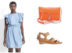 We've all come to love our chambray button downs but with the summer heat it is time to trade in for a new chambray look.  Try a denim dress, like this girly-chic See by Chloé number.  Complement the neutral blue with a a great pair of simple leather sandals.  These camel white Matt Bernson mid-wedges edge up the look.  This summer is all about bright colors so add in a final color pop with a this neon bag by Rebecca Minkoff and keep enjoying your chambray all summer long! Click to get this…