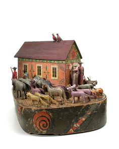 Erzgebirge Noah's Ark, vintage toy, 1860–1870, wood, approx. 50 pieces, 175 x 330 x 170 mm