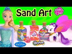 Disney Queen Elsa Frozen Stickers Sand Art Fun Craft Set Kit Shopkins My Little Pony Toy Unboxing - YouTube