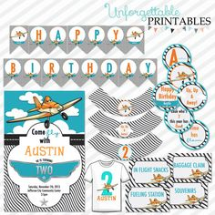 Dusty Crophopper Disney Planes Birthday Party Printables Package