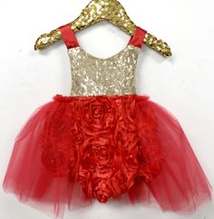 Belle Fleur in Red Tutu Sparkle Romper READY TO SHIP