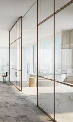 vosgesparis: A minimal bronze partition wall in a high end apartment Luxury Interior, Home Interior Design, Interior Architecture, Casa Kardashian, Glazed Walls, Bathroom Interior, Home Decor Accessories, Bridal Accessories, Cheap Home Decor