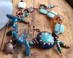 Sea Dweller Bracelet - Porcelain, Amazonite, Apatite, Sea Turtle, Czech Glass - Earthy Jewelry by YaYJewelry