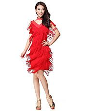 Performance Dancewear Polyester With Tassels & Rhinestone Latin Dance Dress for Ladies(More Colors)