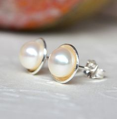 Sterling Silver & AAA Grade 6.5mm Pearl Earrings, Pearl Studs. White Pearl. | Daisy and Mister | madeit.com.au