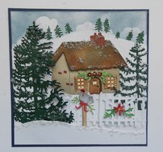 This is Selma Stevenson today. It is a little early to start thinking about Christmas, but I couldn't resist using one of Susan Tierney-Cockburn's new Cottage die sets to create a Christmas scene.  I also used a variety of Susan's CountryScapes die sets to complete this card. Cut two 5 1/2 inch square pieces of White Soft Finish Cardstock. On one of the square pieces, use Susan's Earth & Sky Stencil to sponge blue ink around the cloud stencil on the top fourth of the 5 1/2 squ...