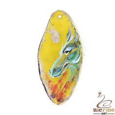 Jewelry necklace Hand Painted Dragon Natural Agate pendant Gold Edge ZL803241 #ZL #Pendant