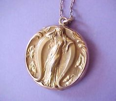 Beautiful and Unusual Art Nouveau Era Locket by TheJewelMystique, $175.00