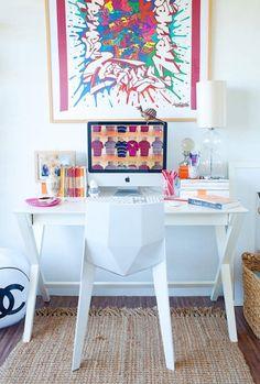 white, bright, geometric chair, desks, workspace