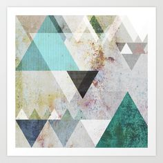 Graphic 3 blue Art Print by Mareike Böhmer Graphics - $18.00 watercolour print