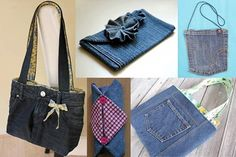 manualidades de cosas recicladas madres Jeans Petite, Love Jeans, Recycled Denim, Tote Pattern, Cycling Outfit, Cycling Clothes, Denim Bag, Sewing For Beginners, Refashion
