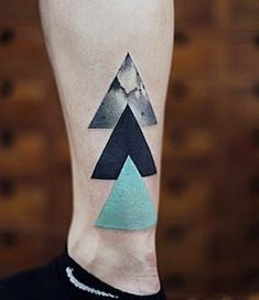 Mens Tricolored Triangle Tattoo On Ankles