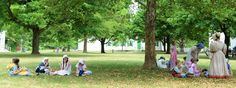 Children at lunch on the Village Square during a hot day at the Genesee Country Village & Museum   Ruby Foote photo