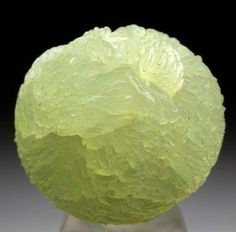 Complete spherical cluster of Prehnite from Oficarsa Quarry, Carchelejo, Andalusia, Spain