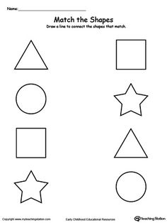 **FREE** Match the Shapes Worksheet.Teach your child basic shapes and how to…