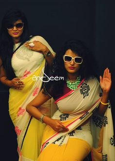 Andeem : retro, quirky saree from Bangladesh Traditional Fashion, Traditional Looks, Traditional Dresses, Indian Attire, Indian Wear, Indian Style, Indian Dresses, Indian Outfits, Modern Saree