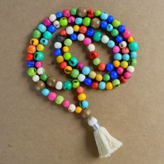 108 Beads Mala Acai Seeds and Wood Beds Necklace   mala by RumCay