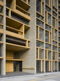 Image 9 of 39 from gallery of Mokuzaikaikan / Nikken Sekkei. Photograph by Nacasa & Partners Inc, Harunori Noda Japan Architecture, Architecture Portfolio, Architecture Details, High Building, Building Structure, Design Exterior, Facade Design, Hotel Jobs, Choice Hotels