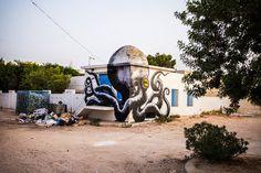 Fun New Murals by ROA Utilize Tunisia's Domed Architecture  http://www.thisiscolossal.com/2014/08/fun-new-murals-by-roa-take-advantage-of-tunisias-domed-architecture/