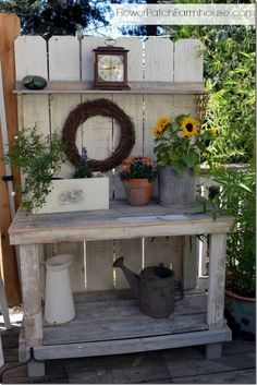Take your crafting outdoors by transforming a potting bench, into a DIY oasis. Just trade your watering cans and pots for buckets to hold craft supplies.