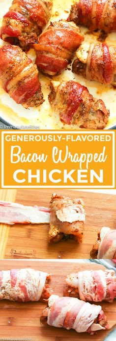 Bacon Wrapped Chicken – Generously flavored boneless and skinless chicken thighs wrapped around bacon and baked to perfection. A perfect quick and easy chicken dinner that doubles up as an appetizer, too. Baked Bacon Wrapped Chicken, Bacon Wrapped Appetizers, Chicken Bacon, Best Appetizers, Yum Yum Chicken, Baked Chicken, Appetizer Recipes, Pork Bacon, Chicken Jalapeno