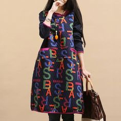 Women long sleeve cotton loose fitting winter dress