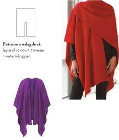 Naaipatroon omslagdoek om zelf een warme en handige cape te maken. Het snelste klaar is een omslagdoek van mooie wollen (vilten) stof die niet rafelt. Het