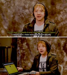 Rupert Grint being sorted in Hufflepuff and not in Gryffindor like his character Ron Weasley. [2016]