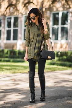 PLAID TUNIC + OVER THE KNEE BOOTS