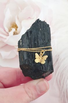 £16 • This beautiful dainty sterling silver gold plated necklace features our sterling silver gold plated butterfly charm which represents love, adventure and new beginnings. Wear this necklace alone for minimal styling or layer with other lengths to create a stylish boho look. Layered Jewelry, Butterfly Necklace, Gold Plated Necklace, Boho Look, Dainty Jewelry, Necklace Lengths, Plating, Rings For Men, Minimal