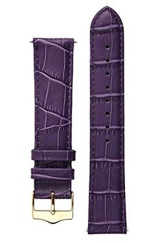 Signature Tropico in Purple 16 mm watch band. Replacement watch strap. Genuine leather. Gold Buckle
