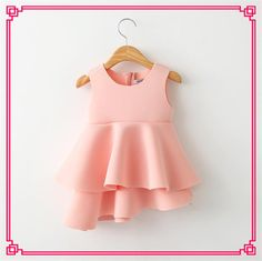 2015 Babies Girls Space Cotton Pleated Dress Kid Girl Sleeveless Asymetric Candy Color Cute Party Dress Top Quality Online with $12.85/Piece on Smartmart's Store | DHgate.com