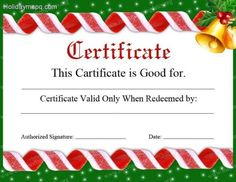 Printable Christmas Gift Certificates Templates Free Image On Hloom Httpwww.hloomfreegiftcertificate .
