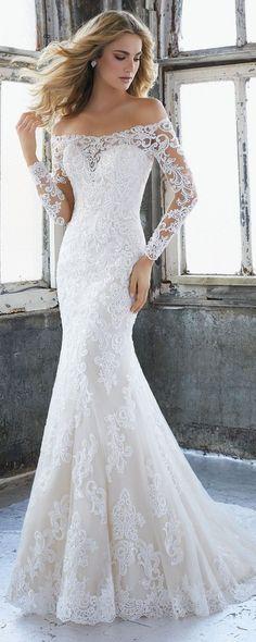 Karlee off the shoulder lace wedding dress Morilee 2018