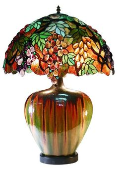 Tiffany Style Grape (Purple) Lamp With Ceramic Base (Art Glass)