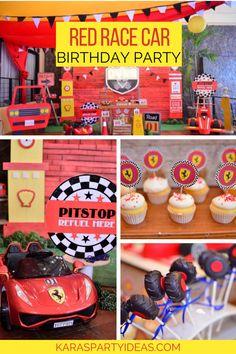 Red race car birthday party via kara's party ideas - karaspartyideas. 3rd Birthday Boys, Race Car Birthday, Race Car Party, Cars Birthday Parties, Race Cars, Birthday Cake, Ferrari Party, Auto Party, Race Car Cakes